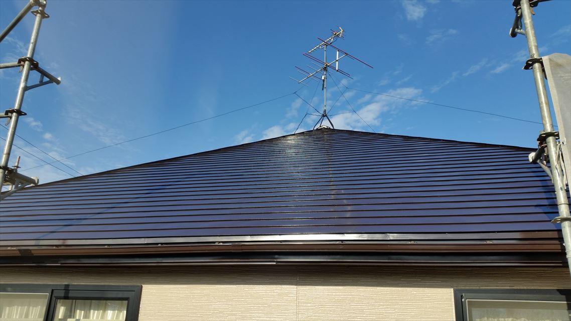 二階屋根シリコン塗装