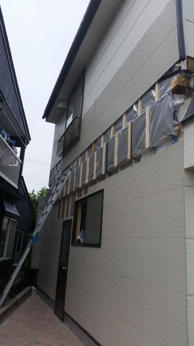 外壁張り施工中2