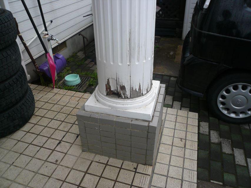 大釜:ポーチ柱